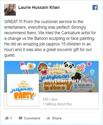 Facebook review Jellybean Kids party