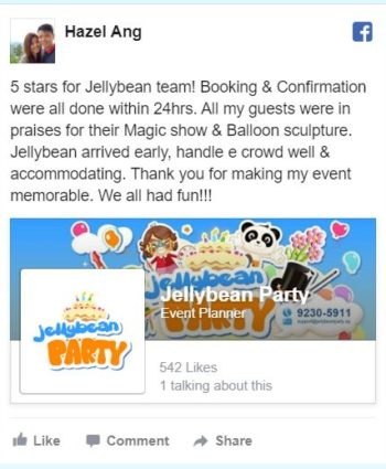 JELLYBEAN KIDS PARTY FACEBOOK REVIEW
