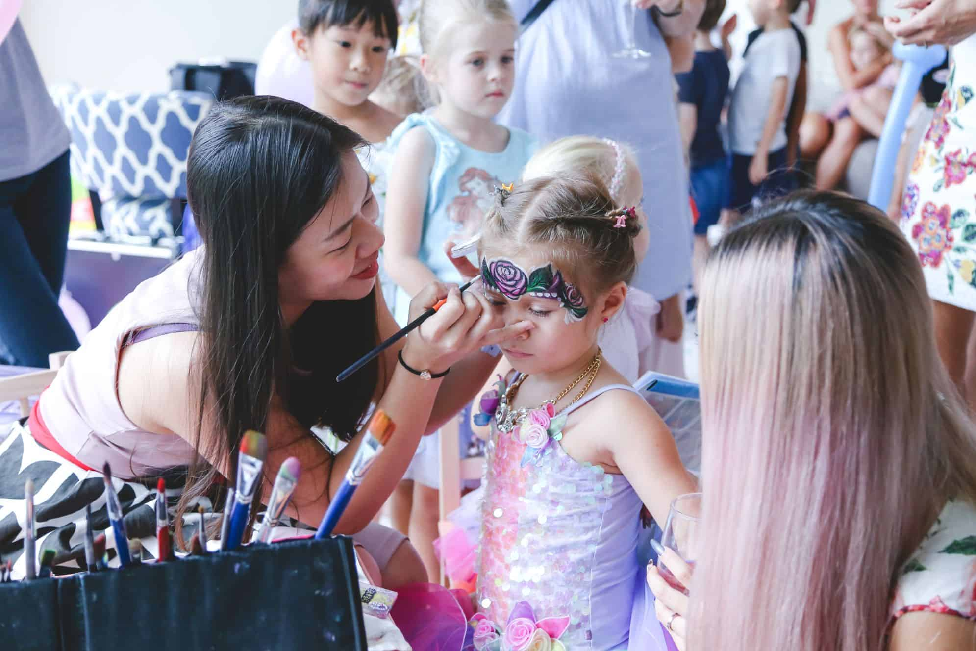 expert kids party face painting rose