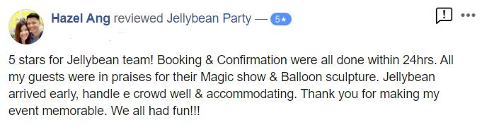Jellybean Party magic show Review
